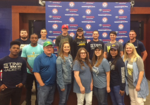 Communication students and faculty at Ranger ballpark for web