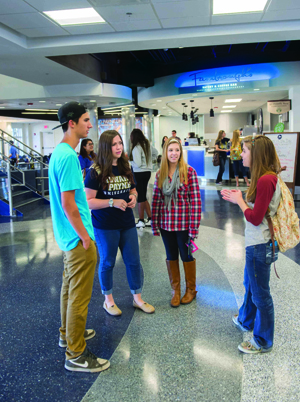 Students in Mabee foyer for web