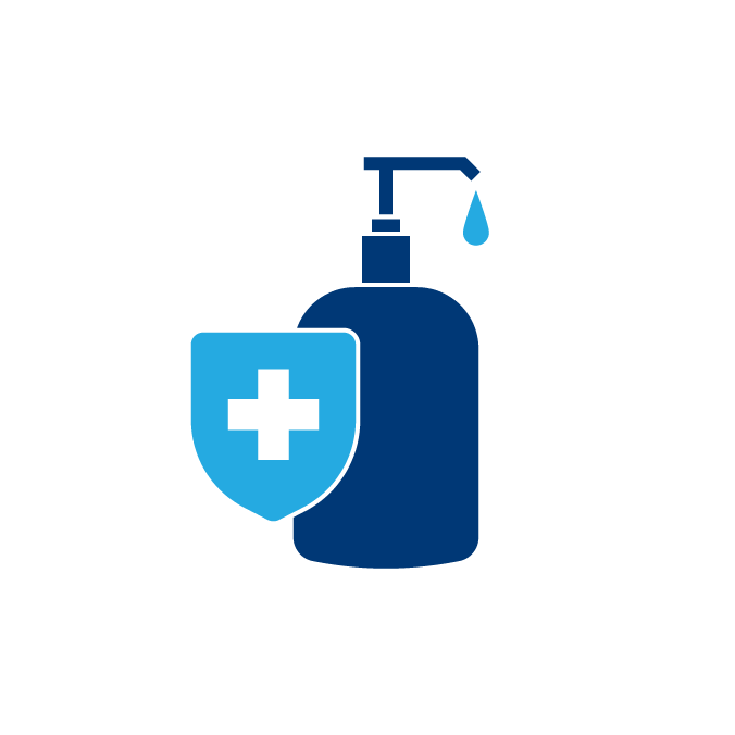 Use hand sanitizer with at least 60% alcohol | Covid Icon
